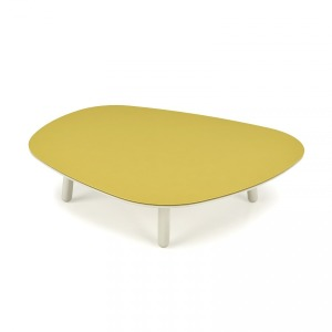 Large Lacquered Center Table - Steel top Shown in Cream 321 and Steel Avocado 654
