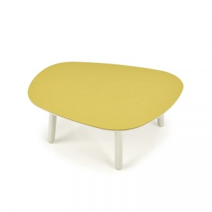 Lacquered Small CenterTable - Steel top Shown in Cream 321 and Steel Avocado 654