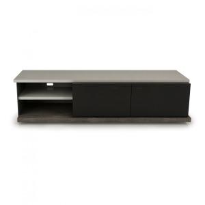 Media Base / Glass Drawer with sliding top Illustré en Anthracite 21, Argile 331 et Acier noir 624