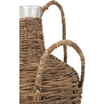 Abella Rattan Wrapped Glass Bottles - Set of 2
