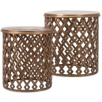 Beth Kushnick Copper Geometric Nesting Tables - Set of 2