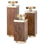 Concepts Eden Wood Candleholders - Set of 3