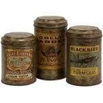 Addie Vintage Label Metal Canisters - Set of 3