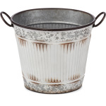 Viktor Antique White Galvanized Buckets - Set of 3