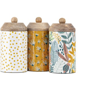 Marigold Enamel Decorative Containers - Ast 3