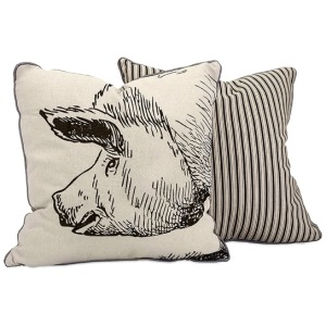 Wilber Pig Embroidered Pillow
