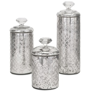 Nikki Chu Waldorf Mercury Glass Canisters - Set of 3