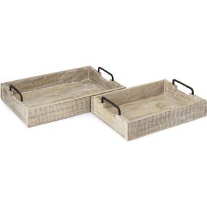 Periyar Decorative Wooden Trays - Set of 2
