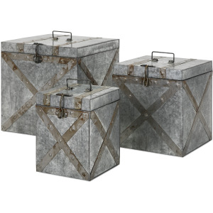 Parry Galvanized Trunks - Set of 3