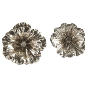 Natalia Stick Silver Flowers - Set of 2