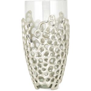 NK Fleming Large Aluminum and Glass Vase
