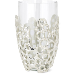 NK Fleming Small Aluminum and Glass Vase