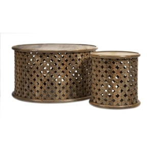 Abdalla Carved Wooden Tables - Set of 2