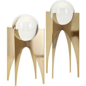 NK Gold Crystal Balls on Stand - Set of 2