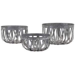 Arlene Galvanized Baskets - Set of 3