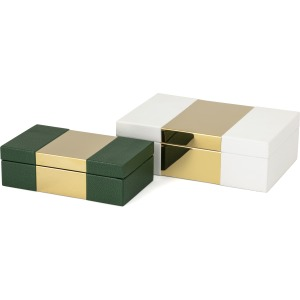 Pongo Faux Leather Boxes - Set of 2
