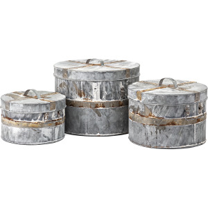 Talbot Galvanized Round Boxes - Set of 3