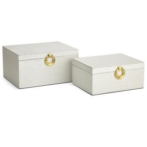 Oscar White Decorative Boxes - Set of 2