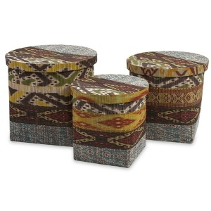 Tymon Waterhyacinth Baskets w/ Lids - Set of 3