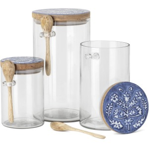 Orleans Glass Canister with Wooden Lid and Spoon - Set of 3