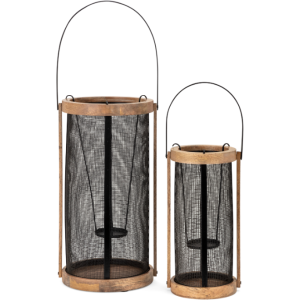 Zelinia Wood and Metal Lanterns - Set of 2