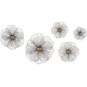 TY Wire Hibiscus Wall Decor - Set of 5