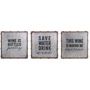 Maxwell Galvanized Wine Wall Décor - Ast 3