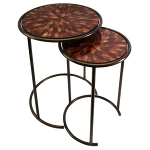 Mashaka Handcrafted Mosaic Glass Tables - Set of 2
