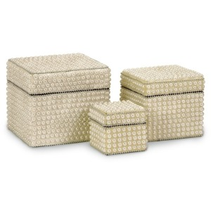 Raina Pearl Finish Storage Boxes - Set of 3