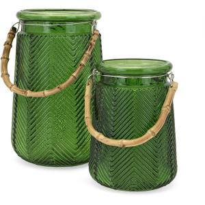 Bamboo Large Glass Lantern