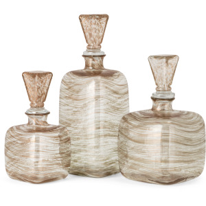 NK Copper Art Glass Decanters with Stoppers - Set of 3