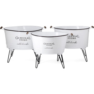 General Store Enamel Beverage Tub - Set of 3