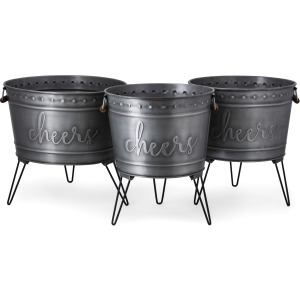 Galvanized Cheers Beverage Tub - Set of 3