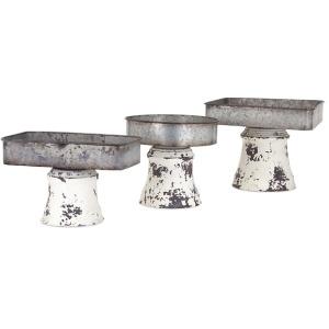 Peterson Metal Pedestal Trays - Set of 3