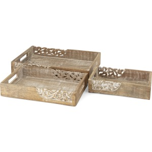 Hinto Decorative Wooden Trays - Set of 3