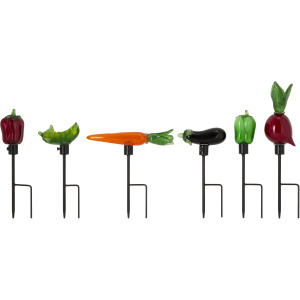 Veggie Art Glass Garden Stakes - Set of 6