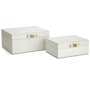 Helga White Decorative Boxes - Set of 2