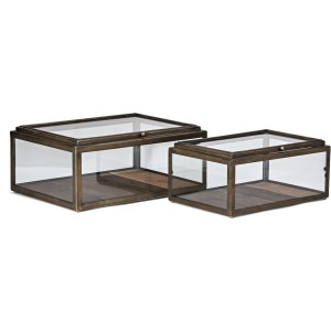 Winthorp Glass and Wood Boxes - Set of 2