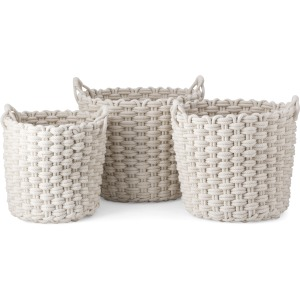 Nantucket Woven Rope Baskets - Set of 3