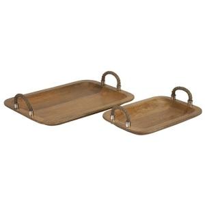 Tabari Wood Trays w/ Jute Handle - Set of 2