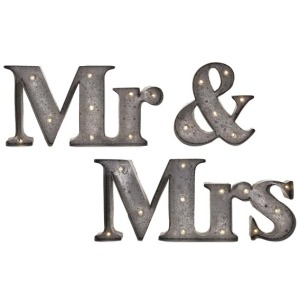 Mr. & Mrs. Lighted Sign - Set of 3