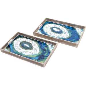 Painted Decorative Trays - Set of 2