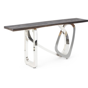 NK Hollis Acacia Wood and Stainless Steel Console