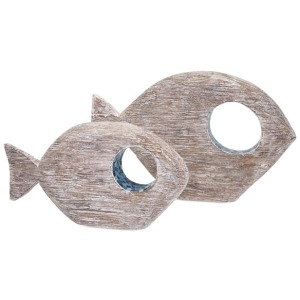 Akua Wood and Mosaic Fish - Set of 2