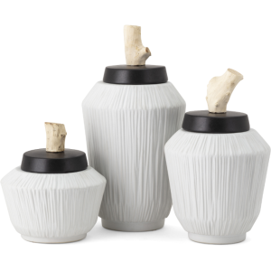 Wawona Ceramic and Wood Canisters - Set of 3