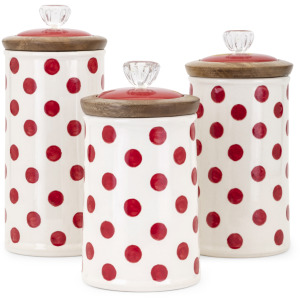 TY Berry Patch Polka Dot Canisters - Set of 3