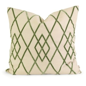 IK Ayaka Green Velvet on Linen Pillow w/ Down Fill