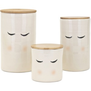 Looking Good Ceramic Containers w/wood lid - Set of 3