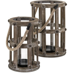 Basel Wood Lanterns - Set of 2