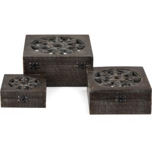 Brookland Wood and Mirror Boxes - Set of 3